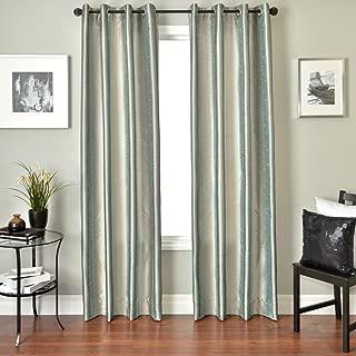 Softline Home Fashions Fantasy Series Faux Silk Window Panel/Treatment/Drape/Curtain, Ice Blue/Platinum, 55 x 96