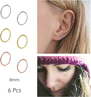 Nose Rings Hoop Fakes Nose Ring 20g 316l Surgical Steel Non Pierced Cartilage Earring Faux Piercing Lip Septum Body Jewelry for Women Men Girls 8mm