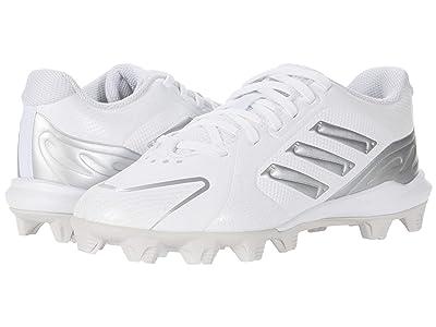 adidas Kids PureHustle MD Baseball (Toddler/Little Kid/Big Kid) (Footwear White/Silver Metallic Grey) Kids Shoes