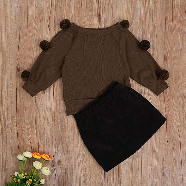 2-7 Years Kids Baby Girls Long Sleeve Faux Furs Ball Warm Sweater Tops+Short Skirt Sets ClodeEU Baby Girl Fall Outfits