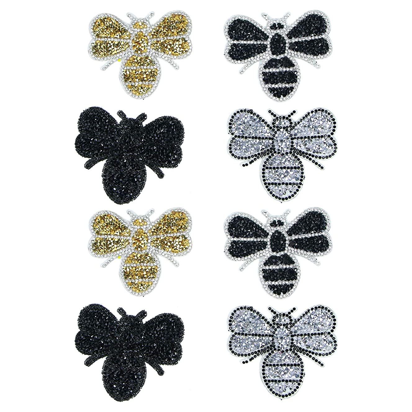Monrocco 8pcs Animals Patches Bee Patches Crystals Iron on Rhinestone Appliques Patch