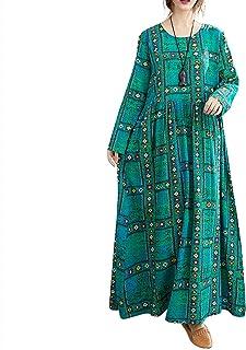 Romacci - Vestido vintage para mujer con cuello redondo, manga larga, algodón y lino, longitud hasta el tobillo, estilo in...