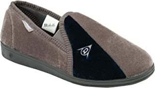 Dunlop Duncan Mens Velour Twin Gusset Slippers (Grey Navy, Numeric_6) … …