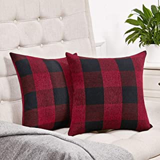 Anickal Set of 2 Christmas Holiday Red and Black Buffalo Check Plaid Throw Pillow Covers Farmhouse Decorative Square Pillow Covers 24x24 Inches for Farmhouse Home Decor