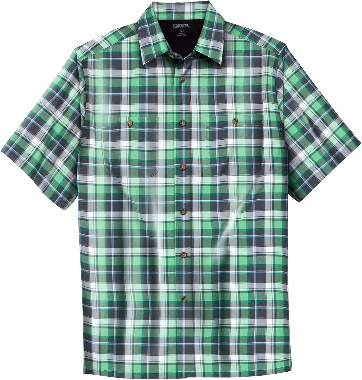 KingSize Mens Big /& Tall Short-Sleeve Plaid Sport Shirt
