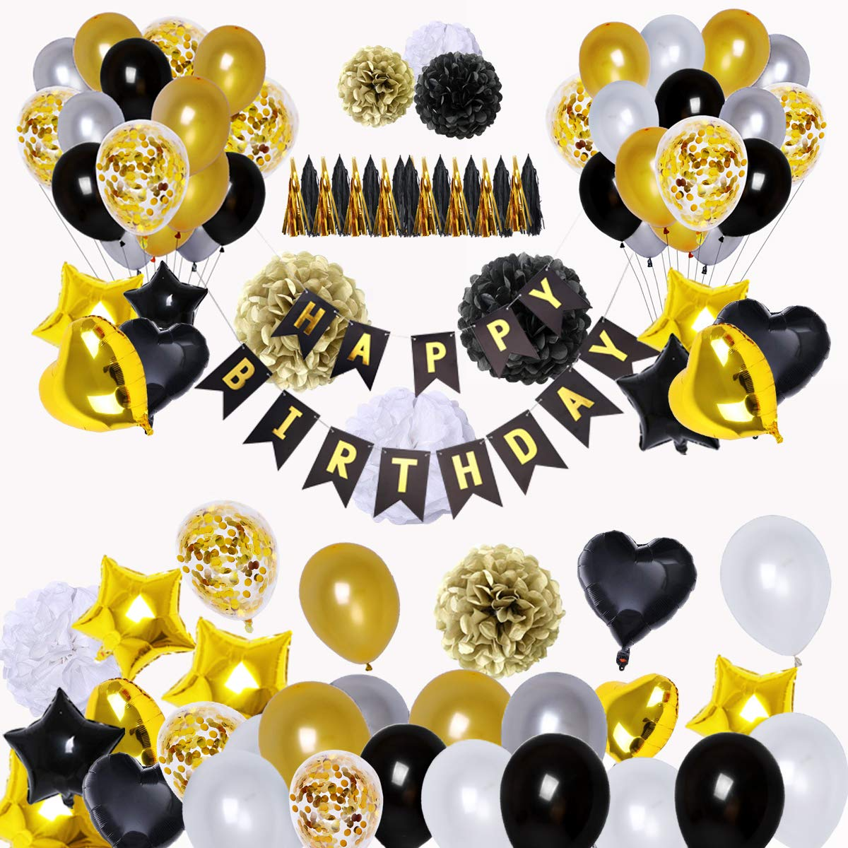 Black White And Gold 50Th Birthday Party Decorations from m.media-amazon.com