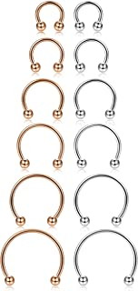 ORAZIO 12Pcs 14-16G Stainless Steel Nose Rings Septum Piercing Cartilage Horseshoe Earring Body Piercing 6MM-16MM