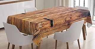 ABAKUHAUS Rustique Nappe, Bois dans des Tons pâles Planks, Linge de Table Rectangulaire pour Salle à Manger Décor de Cuisi...