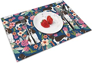 yinchuyindianzi Table Mats Placemats English Springer Spaniel Floral Set of 4 Non Slip Placemats Table Pad 12 x 18 Inch Decor Design for Home and Office