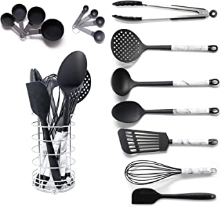 Black Cooking Utensils With a Modern Look of Marble Utensil Holder Included - Marble Kitchen Accessories. 16-Piece Nylon Cooking Utensils Set with Holder incl. Black Measuring Spoons and Cups Set