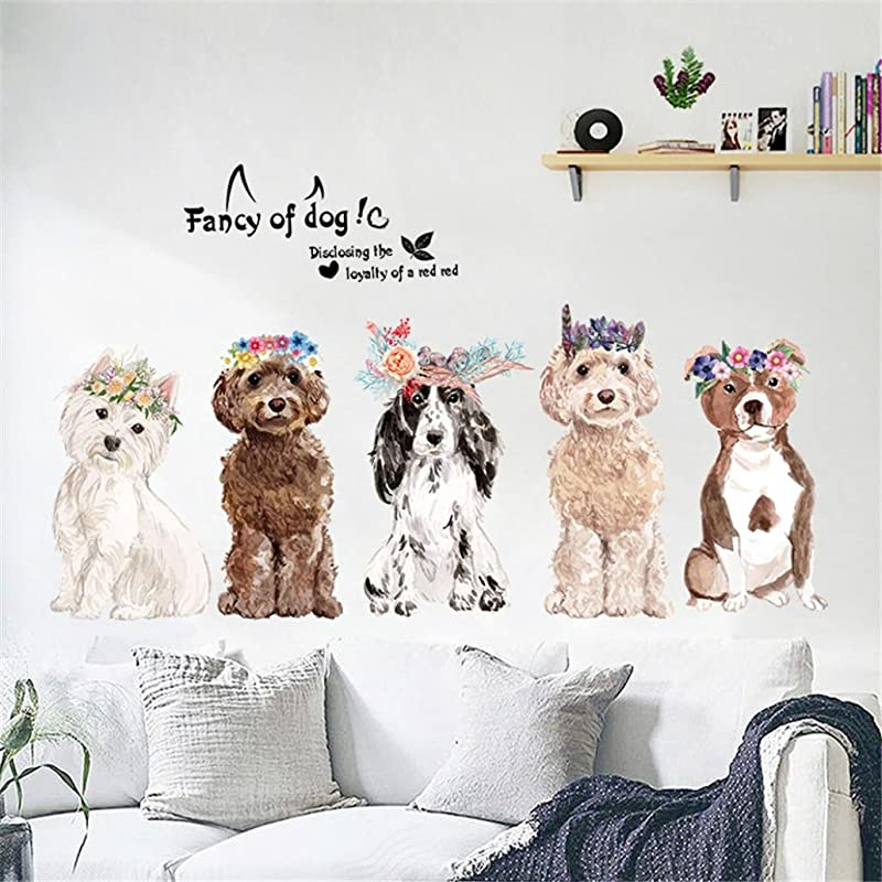 Transer Wall Sticker Fancy Of Dogs DIY Removable Wall Window Decal Kid Room Bedroom Decoration Multicolor