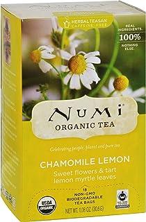Numi Tea Herbal Tea - Chamomile Lemon - Caffeine Free - 18 Bags - 95%+ Organic - Caffeine Free - Gluten Free