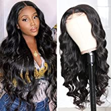 Body Wave 4x4 Lace Closure Wig Brazilian Virgin Human Hair Wigs, 150% Density Natural Color Pre-plucked Lace Wig For Black Women