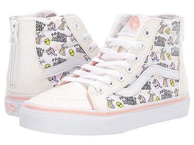 Vans Kids Sk8-Hi Zip (Little Kid/Big Kid) ((Unicorn Alien) Glitter/True White) Girls Shoes