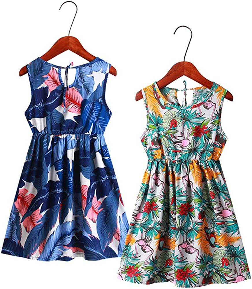 VELWINGS Girl Dress Summer Sleeveless Casual Cotton Floral Print Sundress for 5-12 Years 2Pack