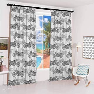 hengshu Motorcycle Studio partition Living Room Curtain Realistic Grayscale Illustration of Classic Motorcycles with Many Details for Living Room or Bedroom W72 x L72 Inch Grey White Black