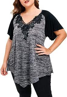 ANJUNIE Casual Tops, Women Plus Size Empire Waist Raglan Sleeve Shirt Blouse