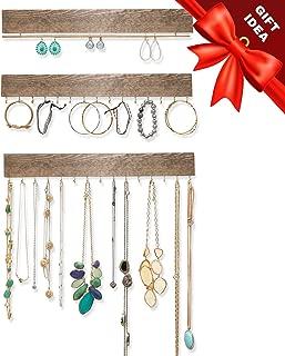 Ilyapa Wall Mounted Jewelry Organizer, Rustic Wood - Earring, Bracelet and Necklace Holder - 3 Piece Jewelry Hanger Rack Set