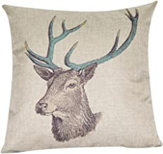 Decorbox Cotton Linen Decorative Throw Pillow Case Cushion Cover (Deer) 18 X18