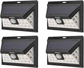 Mr Beams Solar Wedge Plus 24 LED Security Outdoor Motion Sensor Wall Light, 4 pack, Black