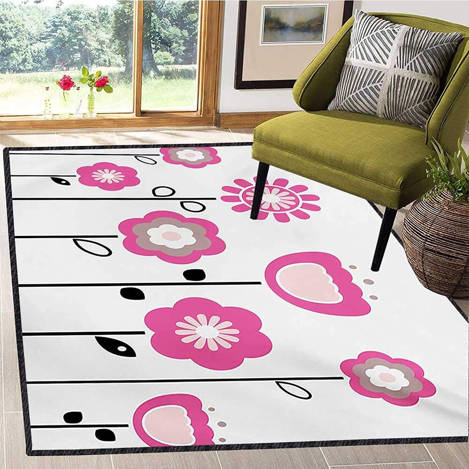 Pink and White, Floor Mat for Kids, Stylized Abstract Flowers on Rural Field Theme Girly Artistic Nature, Door Mat Indoors Bathroom Mats Non Slip 5x6 Ft Pink Tan Black