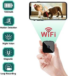 Mini Camaras Espia Oculta Videocámara1080P HD Gran Angular 150° WiFi Cámara Vigilancia Portátil Secreta Compacta con Detector de Movimiento IR Visión Nocturna Camaras de Seguridad Pequeña (1)