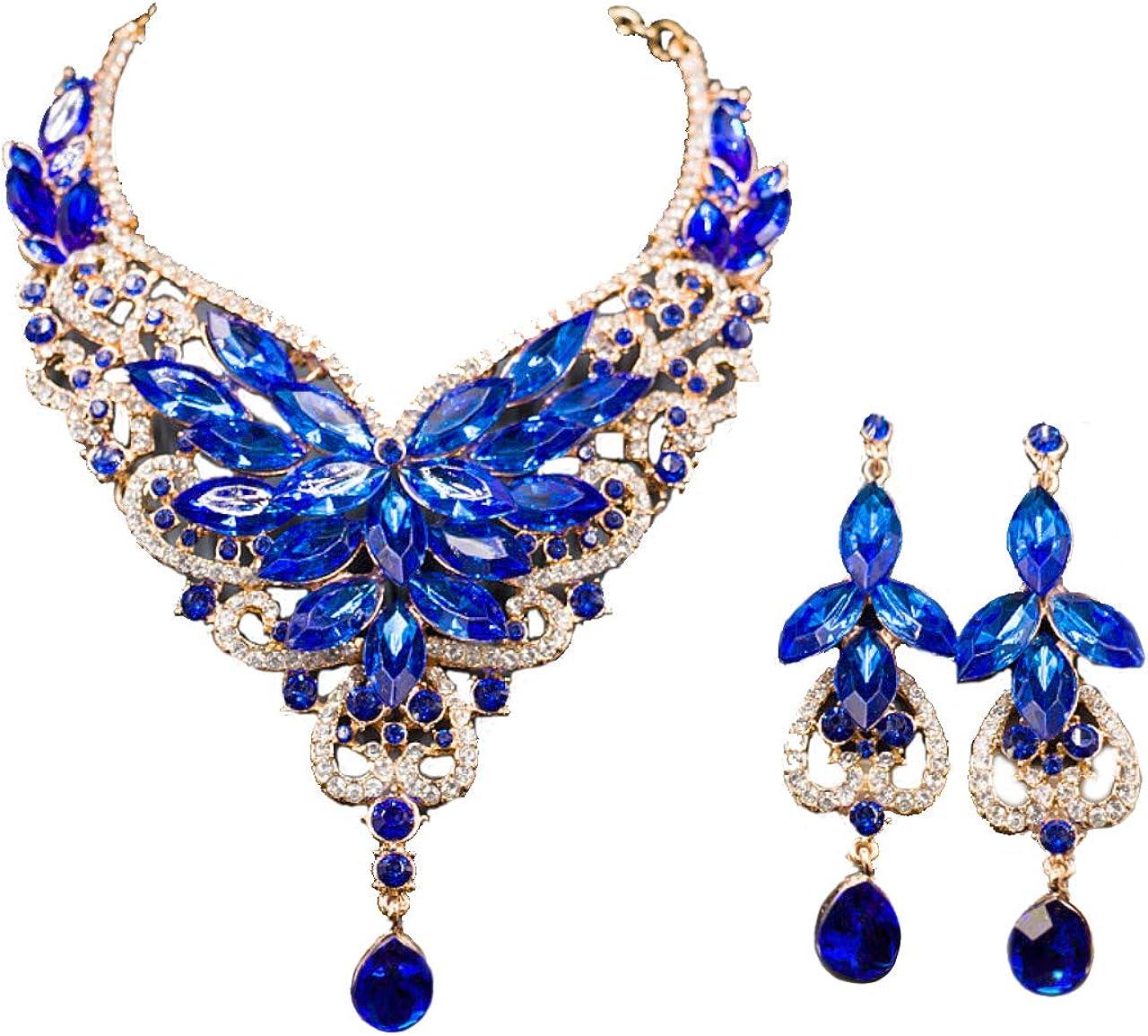 Luxury Chunky Bib Collar Crystal Statement Necklace and Dangle Earrings Wedding Jewelry Set