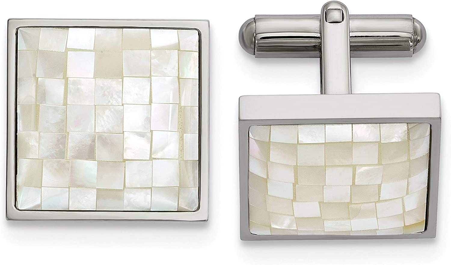 Stainless Steel Polished with Mother of Pearl Cuff Links White Men's
