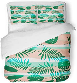 Tarolo Bedding Duvet Cover Set Pink Eclectic Contemporary Geometric Palm Leaves and Stripes in Abstract Pattern Aloha 3 Piece Twin 68