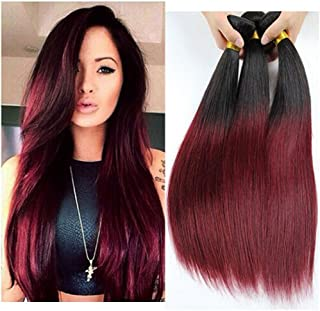 """XCCOCO Brazilian Silky Straight Real Human Hair Extension 3 Bundles Black to Wine Red Ombre Two Tone Hair Weave Wefts(T1B/99J,18"""",20"""", 22"""")"""