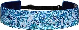 BEACHGIRL Bands Wide Headband Adjustable Elastic Non-Slip Workout Hairband For Women & Girls Blue Boho Elephants