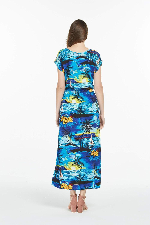 Couple Matching Hawaiian Luau Shirt Cap Sleeve Maxi Dress in Hibiscus Blue