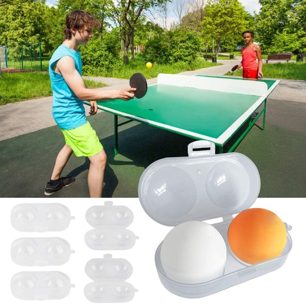 Keenso Caja de Almacenamiento de Bolas de Ping Pong de 5 Piezas,contenedor de Bolas,con Cadena,Contiene 2 Piezas de Bolas de Ping Pong estándar,Estuche de Tenis de Mesa,tamaño pequeño