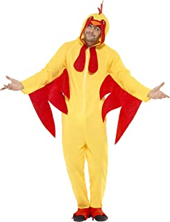Unisex Chicken Suit Animal Costume - Promotional Mascot, Dress Up Parties, Fuzzy Chicken, Zip Up Onesie - Yellow, Size Medium
