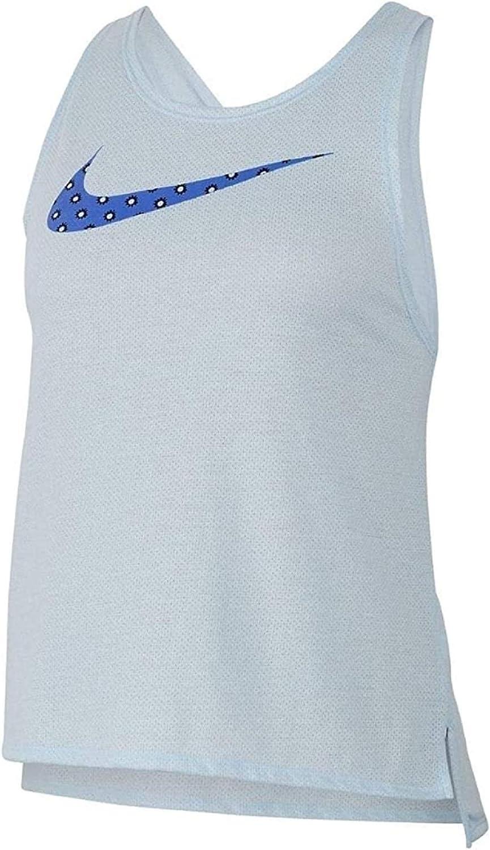 Nike Women's Dri-fit Printed-Logo Cross-Back Running Tank Top Blue