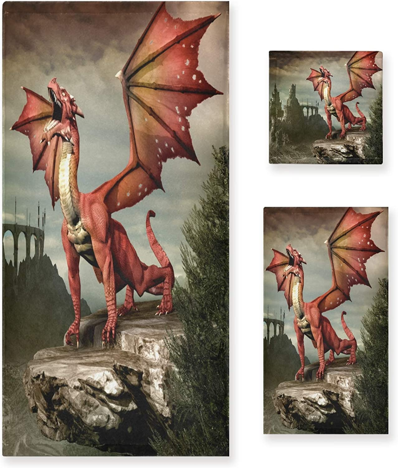 3-Piece NEW before selling ☆ Towel Set Red Dragon Surprise price H Sets Bath 1