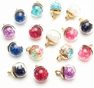 Dandan DIY 16pcs 12mm(0.48'') Colorful Mix Lots Assorted-Colors Antique Charms Glass Ball with Tiny Shiny Rhinestone Beads Pendant Craft Accessory Diy Necklace Bracelet Craft Jewelry Making Supply