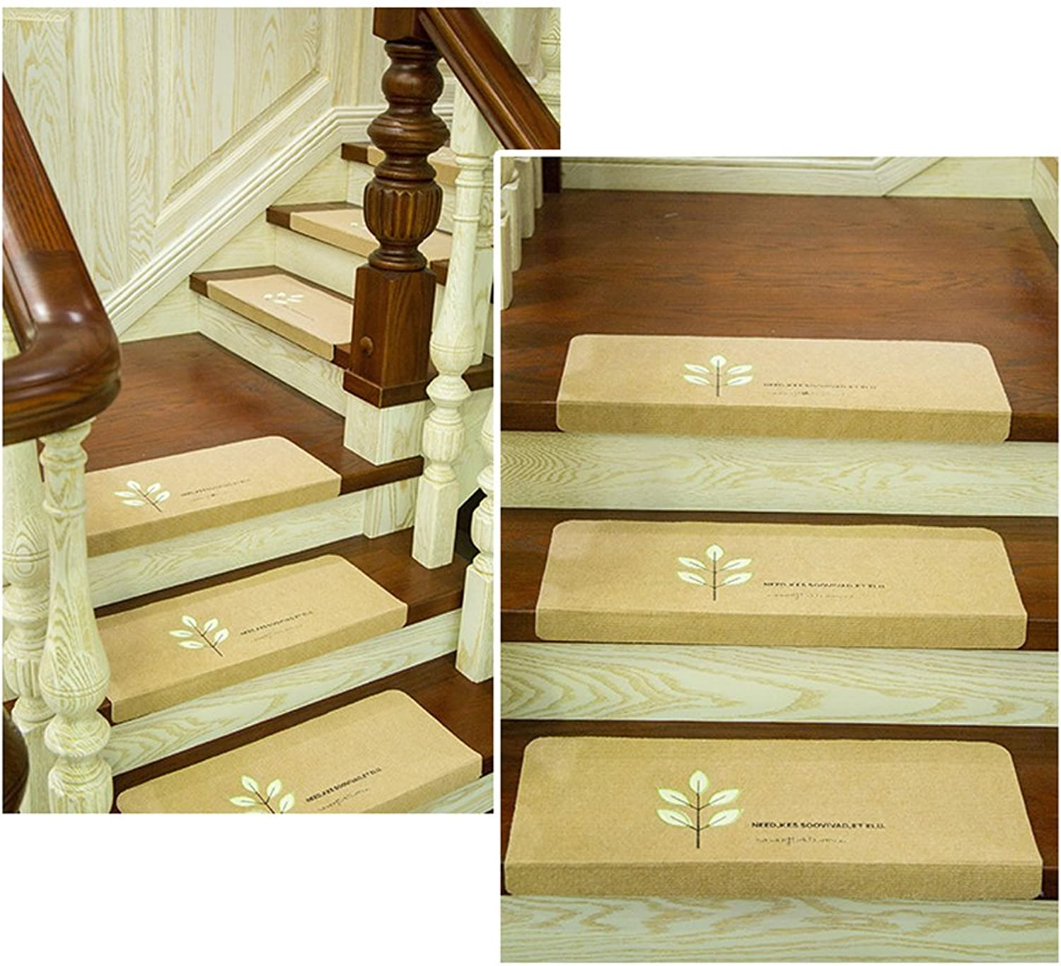 Staircase Pad Luminous Carpet Glue Self-Adhesive Wood High-Grade Non-Slip Embroidered Mats Foot Mats (Beige),8Pcs,70  22  4.5Cm
