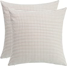 SUNOOMY Pack of 2 Soft Handmade Checkers Plaids Square Cotton Throw Pillow Cover Cushion Case,Decorative Sofa Couch Bed Chair,White&natural linen,18x18(45cm)