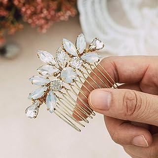 Handcess - Pettini per capelli da sposa con cristalli, accessori per capelli da sposa, con strass, colore: oro