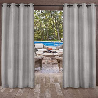 Exclusive Home Curtains Biscayne Indoor/Outdoor Two Tone Textured Window Curtain Panel Pair with Grommet Top, 54x108, Silver, 2 Piece