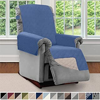 Sofa Shield Original Patent Pending Reversible Recliner Slipcover, 2 Inch Strap Hook Seat Width to 25 Inch Washable Slip Cover Furniture Protector for Recliners, Pets, Small Recliner, Denim Lt Taupe