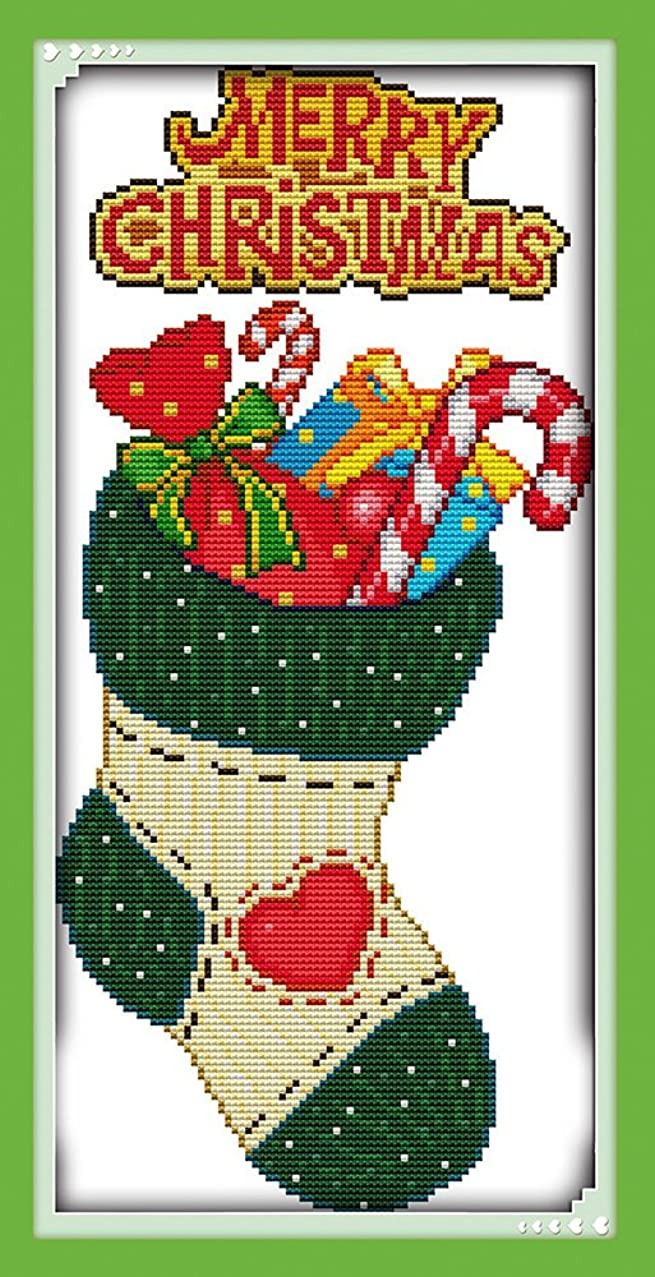 "Lemon Tree Cross Stitch Kits Beginners Cross-Stitching Accurate Pre-printed Pattern -Merry Christmas 11CT 9""X19"", Frameless (Christmas stockings)"