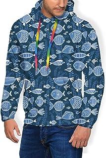 GULTMEE Men's Hoodies Sweatershirt, Sealife Marine Navy Image with Tropic Fish Moss Leaves Artwork Image,5 Size
