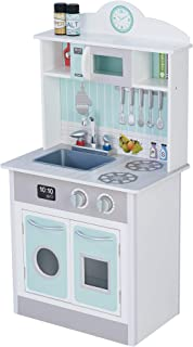 Teamson Kids- cocina de juguete de madera, Color gris verde (TD-12385M)
