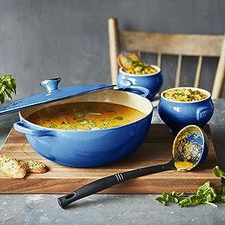 Le Creuset of America MM15L2574S-59 4.25 quart Marseille Enameled Cast Iron Soup Pot and Stoneware Bowl Set, Blue