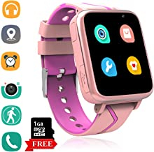Kids Smart Watch Phone with MP3 Player - Students Music 3.5mm Jack Smartwatch with LBS Tracker 2 Way Calls Voice Chat Camera SOS Help FM Radio Pedometer Wristband Gifts for 4-15 Teen Boys Girls