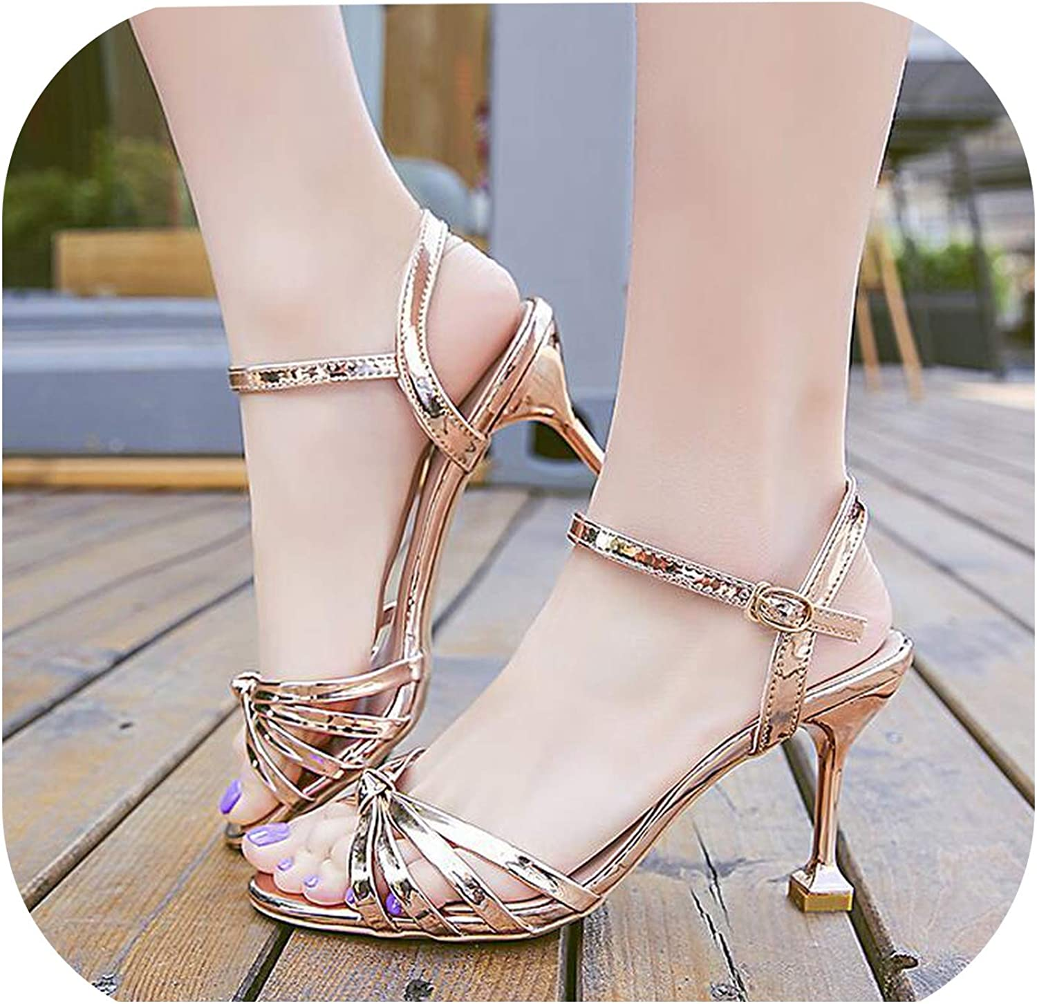 Shine-shine Simple High-Heels Angle Buckle Open-Toed Sandals F340