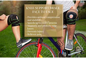 Knee Brace Support for Men and Women, Compression Sleeve Brace, Adjustable Open Patella Knee Brace with 4 Side Stabil...