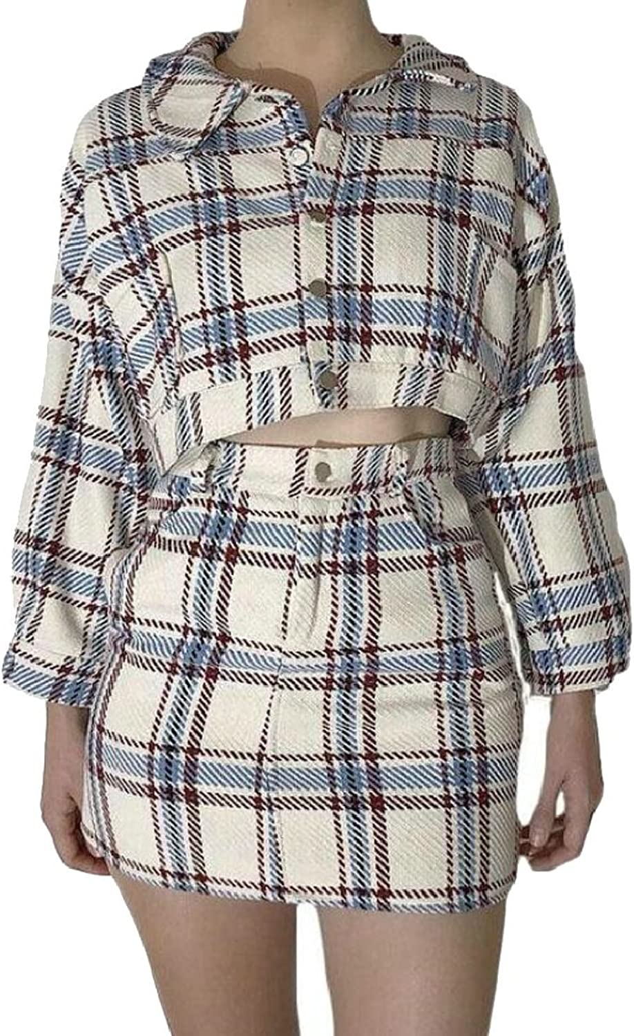 PujinggeCA Women 2 Pieces Crop Tops Jacket & High Waist Skirt Plaid Dresses